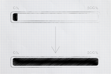 loading time conceptual illustration: progress bar from start to finish of a process Stock Photo