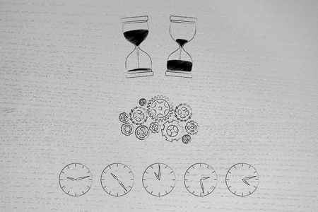 loading time conceptual illustration: hourglasses before after and gearwheel mechanism above line of clocks with time passying by Stock Photo