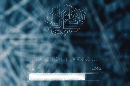 thought processing conceptual illustration: circuit brain with progress bar and Solution loading text