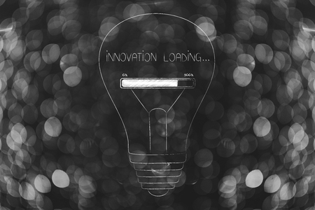 thought processing conceptual illustration: lightbulb with progress bar and Innovation loading text instead of filament inside Stock Photo