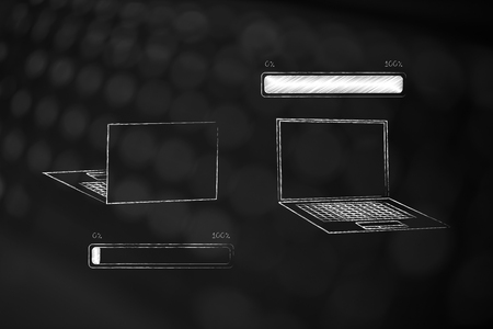 loading time conceptual illustration: progress bar from zero to 100 per cent and laptops front and back view Stockfoto