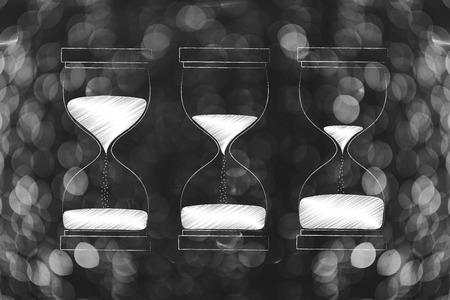 time passing by conceptual illustration: three hourglasses from almost full to almost empty