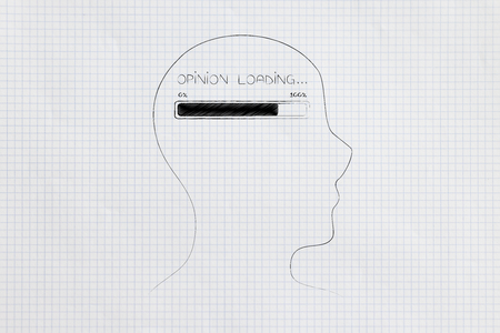 thought processing conceptual illustration: profile with progress bar and Opinion loading text in his mind Stock Photo