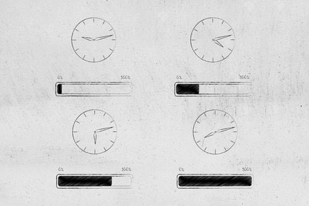 loading time conceptual illustration: clocks with tim passying by and progress bars matching them below
