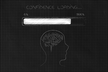 thought processing conceptual illustration: profle with brain with progress bar and Confidence loading text