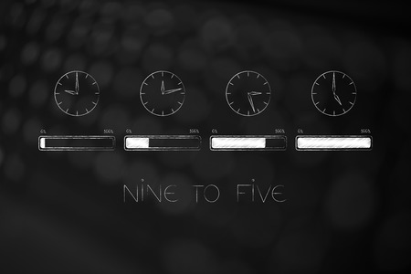 nine to five jobs and lifestyle conceptual illustration: group of clocks with working hours passying by each with progress bar related to completion of the business day Stock Photo