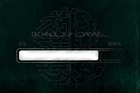 robotics and innovation conceptual illustration: technology loading progress bar with half human half artificial intelligence brain overlay Stock Photo