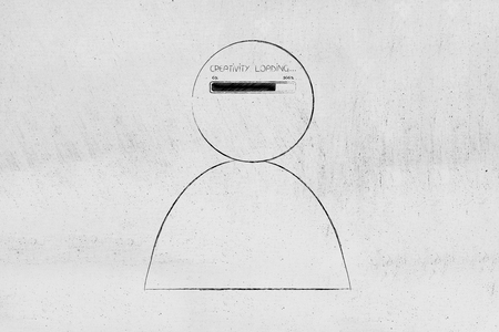 thought processing conceptual illustration: person with progress bar and Creativity loading text in his mind