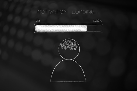 thought processing conceptual illustration: person with gearwheel mind with progress bar and Motivation loading text above Stock Photo