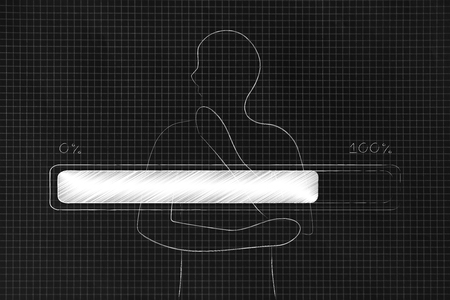 decision making conceptual illustration: confused person collecting his thoughts and progress bar loading on top