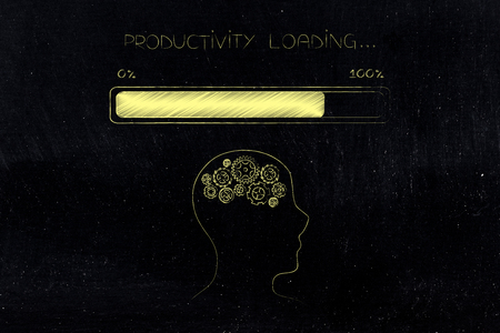thought processing conceptual illustration: profile with gearwheel brain with progress bar and Productivity loading text