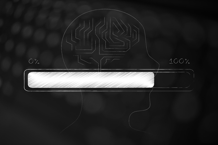 thought processing conceptual illustration: profile with brain icon and progress bar loading idea on top