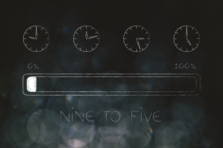 nine to five jobs and lifestyle conceptual illustration: group of clocks with working hours passying by and progress bar below