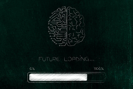 thought processing conceptual illustration: half human half circuit brain with progress bar and Future loading text Stock Photo