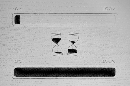 loading time conceptual illustration: progress bar from beginning to completion of a process with libefore after hourglasses in between them