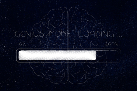 thought processing conceptual illustration: genius mode loading progress bar with brain overlay Stock Photo