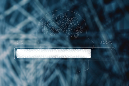 thought processing conceptual illustration: profile with gearwheel mind and progress bar loading on top