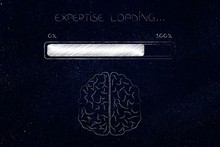thought processing conceptual illustration: brain with progress bar and Expertise loading text
