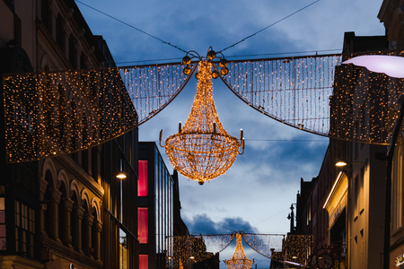 DUBLIN, IRELAND - December 19th, 2018: Christmas decorations in Dublin city centre in the famous Grafton Street shopping area Sajtókép
