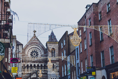 DUBLIN, IRELAND - January 5th, 2019: streets of Dublin city centre with Christmas lights and festive decorations Sajtókép