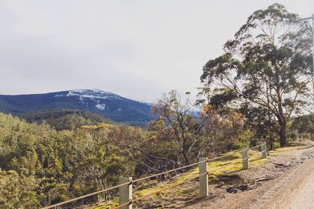 Australian countryside landscape in winter, the bush of Tasmania in the Houn Valley