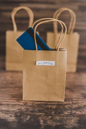 shop bags with labels and paymen card popping out of one, concept of crazy or intentional shopping