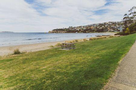 HOBART, AUSTRALIA - August 31st, 2019: beach landscape in Blackmans Bay in Hobart, Tasmania in Australia Editorial
