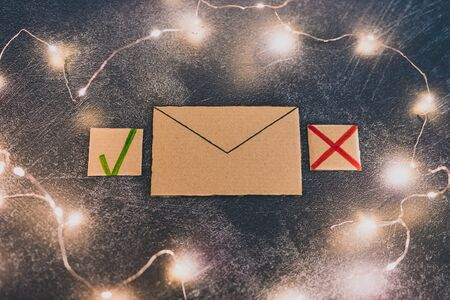 concept of organized inbox, email newsletter or junk mail message with tick and cross options Stock Photo