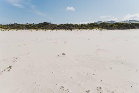 deserted sand beach in Marion Bay along the East Coast of Tasmania Australia