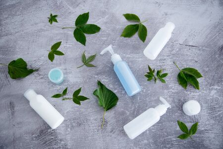 chemical-free natural beauty products concept, group of lotion bottles surrounded by fresh green leaves 写真素材
