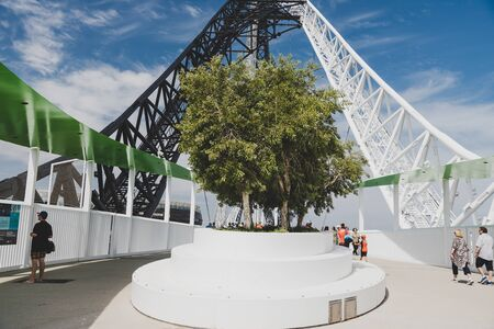 PERTH, WESTERN AUSTRALIA - December 26th, 2019: trees planted on top of the Matagarup Bridge over the Swan River in Perth city CBD Editorial