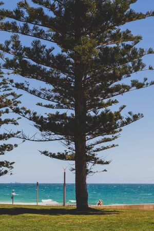 COTTESLOE, WESTERN AUSTRALIA -  December 27th, 2019: view of Cottesloe beach, one of the most popular beaches near Perth with white sand and turqoise waters of the Indian Ocean Editorial