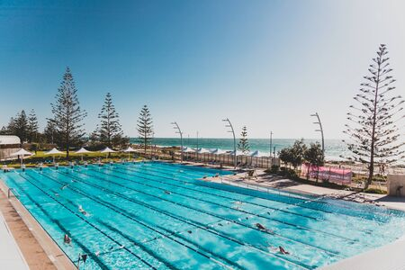 PERTH, WESTERN AUSTRALIA - January 3rd, 2020: view of Scarborough beach near Perth on a sunny and warm summer day
