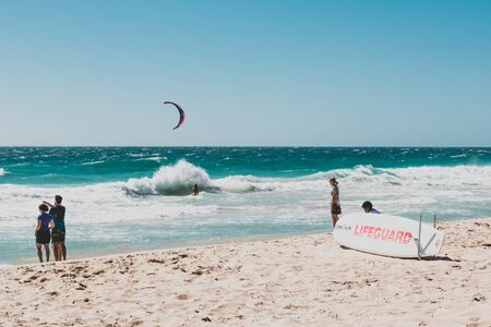 PERTH, WESTERN AUSTRALIA - December 31st, 2019: view of Scarborough beach near Perth on a sunny and warm summer day