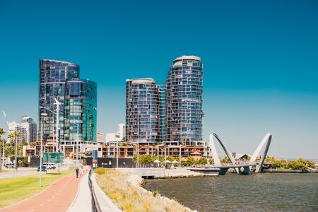PERTH, AUSTRALIA - December 28th, 2019: view of Elizabeth Quay in Perth, a newly built harbour area with modern architecture and beautiful views on the Swan River