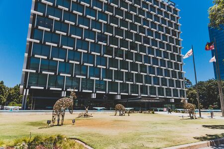 PERTH, WESTERN AUSTRALIA - December 24th, 2019: festive Kangaroo sculptures made of Christmas lights in the City of Perth Editorial