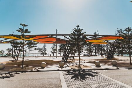 PERTH, WESTERN AUSTRALIA - January 3rd, 2020: view of Scarborough beach seaside walk near Perth on a sunny and warm summer day