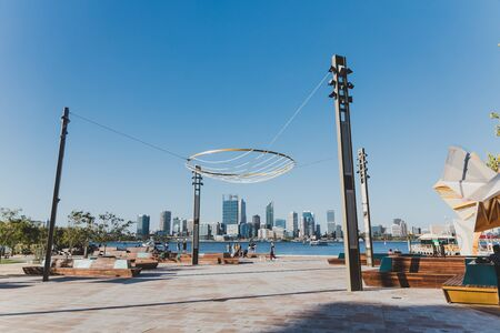PERTH, AUSTRALIA - December 30th, 2019: view of Perth CBD skyline from Mends Jetty across the river Swan in South Perth