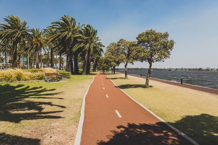 PERTH, WESTERN AUSTRALIA - January 9th, 2020: detail of the Riverside walk along the Swan River from Perth CBD on a sunny and warm summer day Editorial