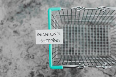 eco-friendly and intentional shopping conceptual still-life, empty shopping basket with text on it