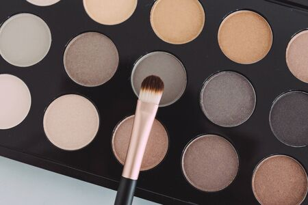 make-up and beauty industry still-life, close-up of brush on top of eyeshadow palette with trendy nudes and bronzy tones Standard-Bild