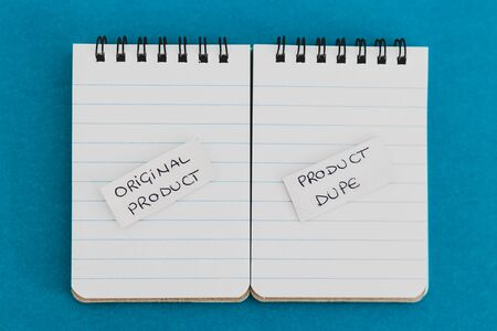 concept product imitation and unfair competition, Original Product vs Product Dupelabels on identical notebooks symbol of generic items