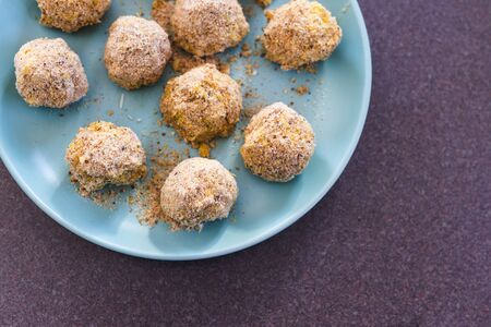 healthy plant-based food recipes concept, vegan risotto arancini balls before been deep fried