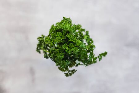 food ingredients for a healthy plant-based diet, jar with water to kep parsley and herbs fresher for longer