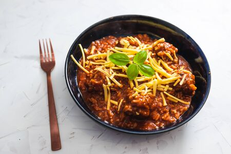 healthy plant-based food recipes concept, vegan meatballs with rice and tomato sauce topped with dairy-free cheese Stock Photo - 148788606