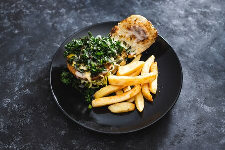 healthy plant-based food recipes concept, vegan burger with charred kale pickles dairy-free cheese and chips Stock Photo - 148862675