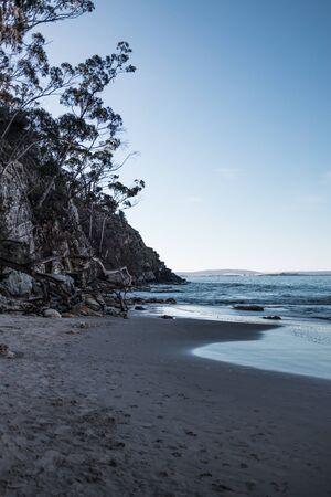 beautiful pristine Tasmanina beach with serene blue sky on a winter morning Stock Photo - 148962261