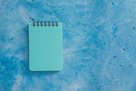 business organisation and planning concept, couple of matching blue notepads on blue background Stockfoto