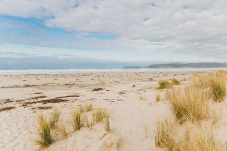 pristine untouched Australian beach in Marion Bay in Tasmania with no people and ocean looking powerful Stock Photo
