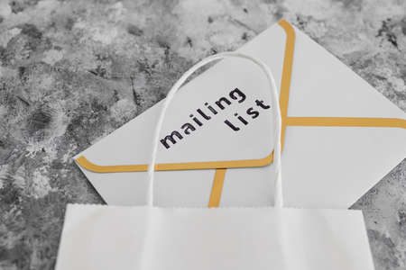 email marketing and online sales, Mailing List email envelope icons with white shopping bag